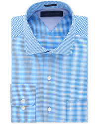 Tommy Hilfiger Classic Fit Easy Care Aqua Gingham Dress Shirt