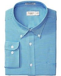 Haggar Mini Gingham Fancy Oxford Regular Fit Button Down Collar Shirt