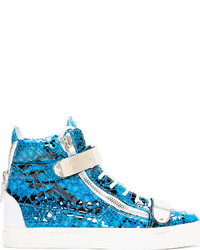 Blue leather python atlantide high top sneakers medium 123548