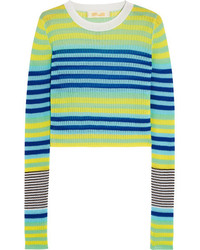 Diane von Furstenberg Striped Ribbed Knit Top Blue