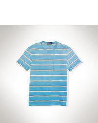 Aquamarine Horizontal Striped Crew-neck T-shirt