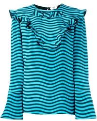 Fendi Ruffled Striped Blouse