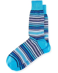 Bugatchi Striped Cotton Blend Socks Aqua