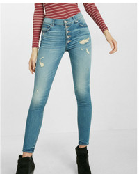 Express High Waisted Button Fly Stretch Ankle Jean Leggings
