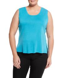 Ming Wang Plus Scoop Neck Knit Tank Blue Plus Size