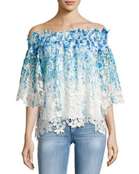 Diana off the shoulder ombre lace blouse blue medium 3679809