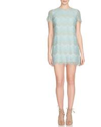 Cynthia Steffe Short Sleeve Scalloped Lace Shift Dress