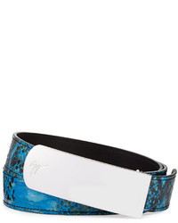Giuseppe Zanotti Crocodile Stamped Plaque Belt Blue