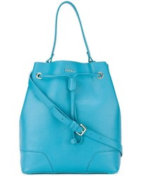 Aquamarine Leather Bucket Bag