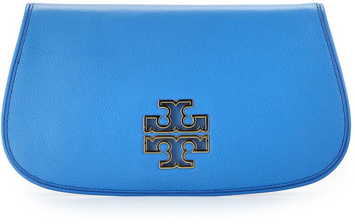 b71d8377a712 ... Tory Burch Britten Leather Flap Clutch Bag Blue Dusk ...