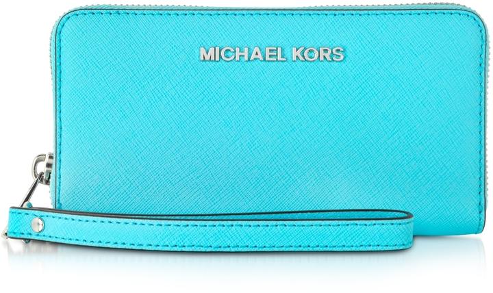 7e84f569fffb ... Michael Kors Michl Kors Aquamarine Jet Set Travel Phone Wristlet For  Iphone And Samsung ...