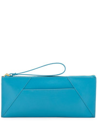 Neiman Marcus Saffiano Leather Travel Clutch Bag Turquoise