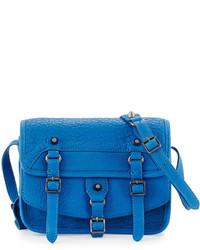 Ash Ace Flap Top Leather Crossbody Bag Azure Blue