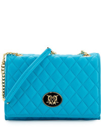 Love Moschino Faux Leather Fold Over Shoulder Bag Light Blue