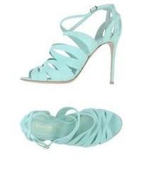 Aquamarine Leather Heeled Sandals