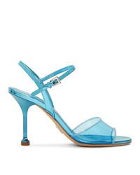Prada Blue Pvc Heeled Sandals