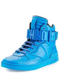 Leather high top sneaker wlogo lettering medium 925586