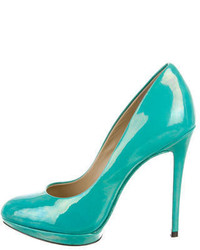 Brian Atwood B Patent Leather Round Toe Pumps