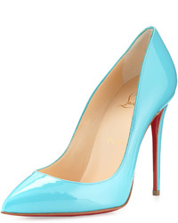 Christian Louboutin Pigalle Follies Patent 100mm Red Sole Pump Turquoise