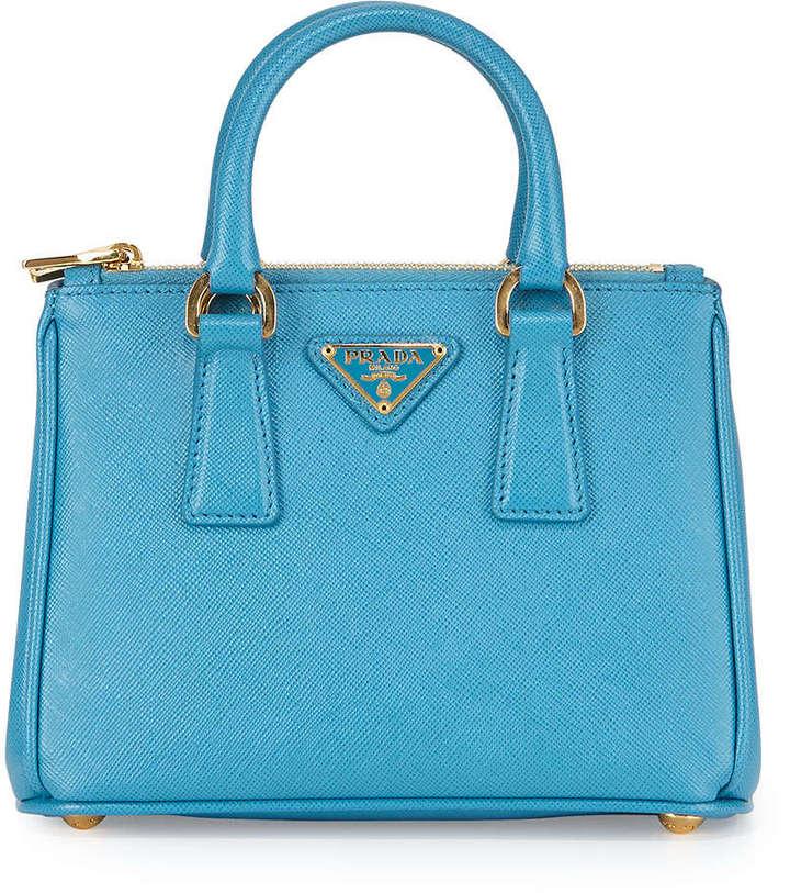 b80627695e0 ... Leather Satchel Bags Prada Saffiano Mini Galleria Crossbody Bag Blue ...