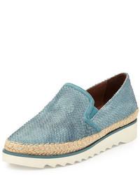 Donald J Pliner Millie Leather Slip On Sneaker Teal