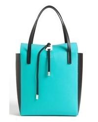 Aquamarine Leather Tote Bag