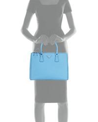 0aba1af56f ... Prada Saffiano Lux Medium Double Zip Tote Bag Light Blue ...