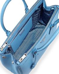 801a1ae448 ... Prada Saffiano Lux Medium Double Zip Tote Bag Light Blue