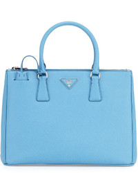 Saffiano lux medium double zip tote bag light blue medium 525393