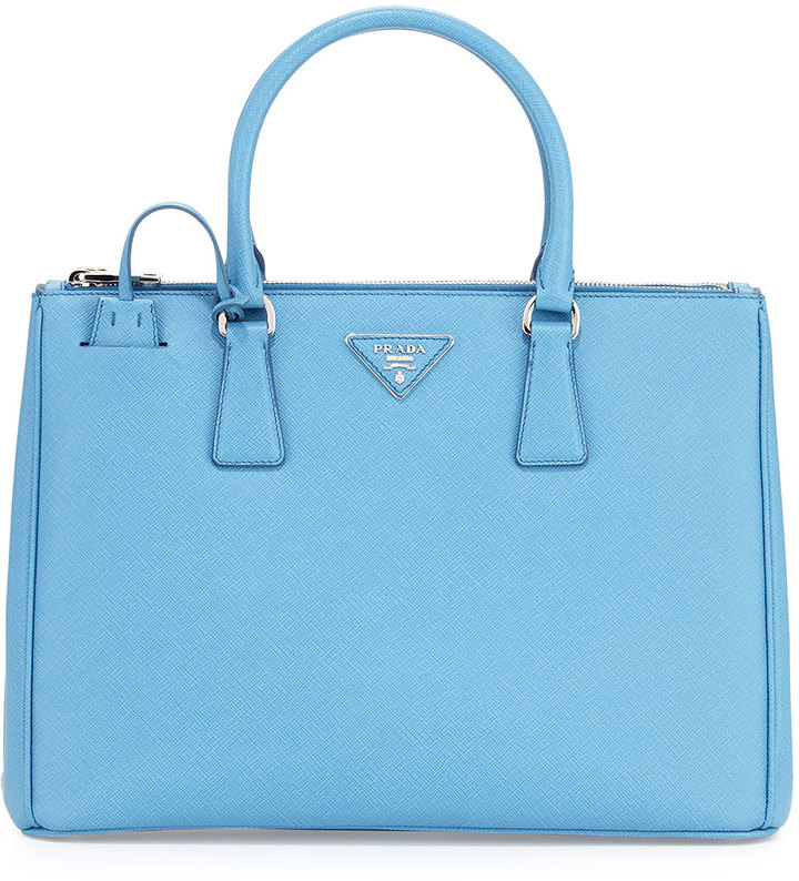 0c1087b2c9d2 ... switzerland prada saffiano lux medium double zip tote bag light blue  e6132 e97f3