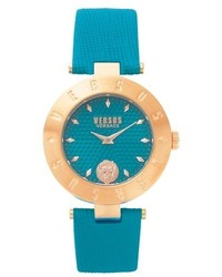 Versus By Versace New Logo Leather Strap Watch 34mm