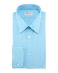 Solid dress shirt aqua medium 112251