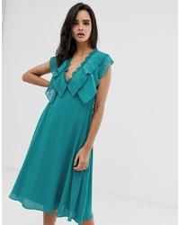 ASOS DESIGN Double Layer Pleat Sleeve Midi Dress With