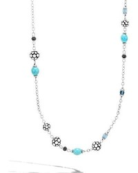 Dot silver sautoir necklace with turquoise sapphire 36 medium 4106546