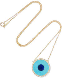 Jennifer Meyer Evil Eye 18 Karat Gold Multi Stone Necklace Turquoise