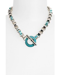 Marc by Marc Jacobs Toggles Turnlocks Collar Necklace Aqua Lagoon Silver