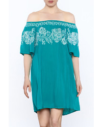 Izzy Lola Teal Embroidered Shift Dress