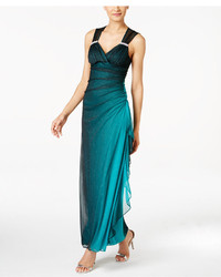 Betsy & Adam B A By Betsy And Adam Ombre Open Back Glitter Gown