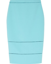 Elizabeth and James Wheeler Pointelle Trimmed Stretch Ponte Pencil Skirt Turquoise