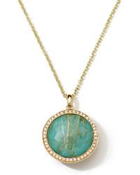 Ippolita 18k Rock Candy Lollipop Diamond Quartz Turquoise Pendant Necklace