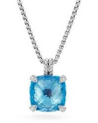 David Yurman Chatelaine Pendant Necklace With Blue Topaz And Diamonds