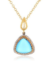 Azaara Delicate 22k Yellow Gold Vermeil Swarovski Crystal Pendant Necklace 18