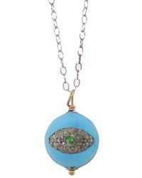 Eye M By Ileana Makri Turquoise Diamonds Enamel Eye Pendant Necklace