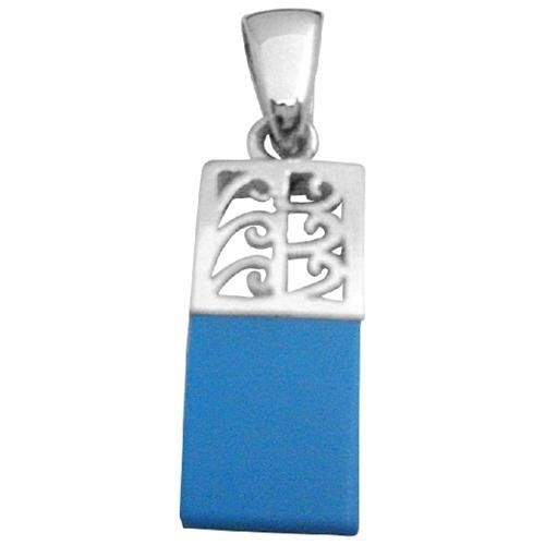 FashionJewelryForEveryone Dainty Sterling Silver Pendant With Attention Blue Turquoise Pendant