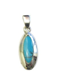 FashionJewelryForEveryone Sterling Silver Stylish Turquoise Pendant 925 Sterling Silver Pendant