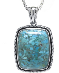 Fine Jewelry Enhanced Turquoise Sterling Silver Rectangular Pendant Necklace
