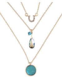 lonna & lilly Gold Plated Tri Stand Pendant Necklace