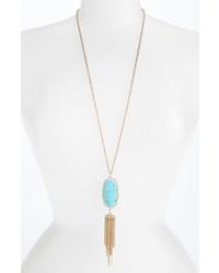Kendra Scott Rayne Stone Tassel Pendant Necklace Turquoise