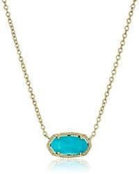 Kendra Scott Signature Elisa Gold Plated Turquoise Color Magnesite Pendant Necklace
