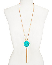 Landry Tasseled Turquoise Pendant Necklace